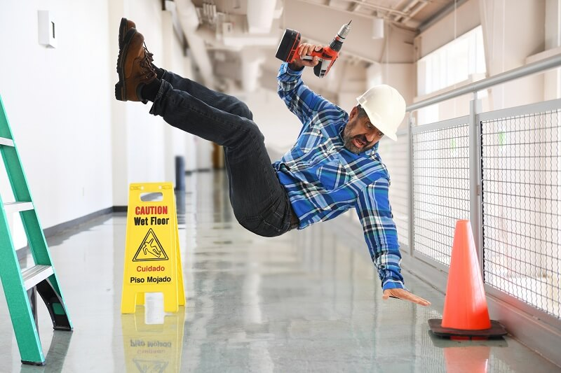 worker falling on the ground